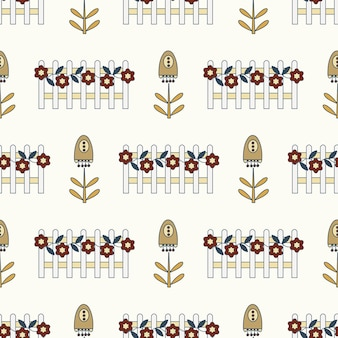 Seamless nature pattern gardening flowers drawing on a white background abstract