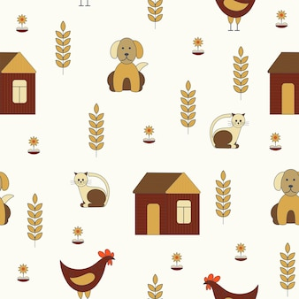 Seamless nature pattern gardening house dog cat flowers drawing on a white background