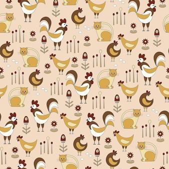 원활한 자연 패턴 원예 수탉과 암탉 계란 꽃은 노란색 배경에 그리기