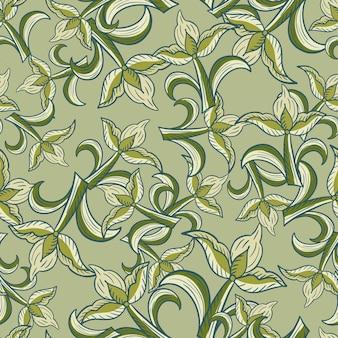 추상적인 스타일의 화려한 튤립 꽃 요소가 있는 매끄러운 자연 패턴입니다. 옅은 녹색 톤의 무작위 인쇄. 포장지 및 패브릭 질감을 위한 그래픽 디자인. 벡터 일러스트 레이 션.