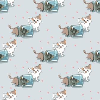 병 패턴으로 원활한 장난 꾸러기 고양이