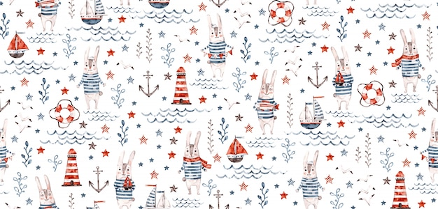 Seamless nautical baby pattern with sea rabbit, bunny, fish, anchor,. nursery marine kids childish background.