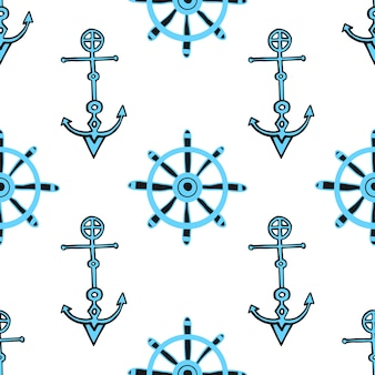 Seamless nautical background with anchors and ship helm. hand drawn sea seamless pattern.