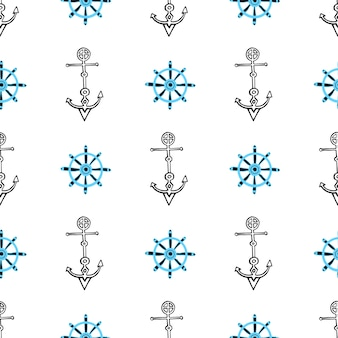 Seamless nautical background with anchors and ship wheels. hand drawn sea seamless pattern.
