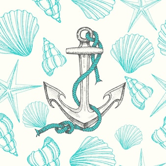 Seamless nautical background with hand drawn anchors and shells