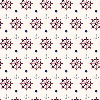 アンカーと船の車輪とのシームレスな航海パターンの背景