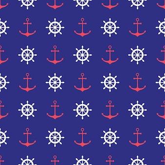 アンカー付きのシームレスな航海パターン。壁紙、ベビーシャワーの招待状、誕生日カード、スクラップブッキング、ファブリックプリントなどのデザイン要素。