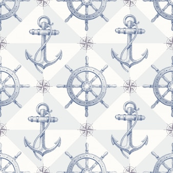 Seamless nautical pattern with hand drawn elements - ship steering wheel and anchor
