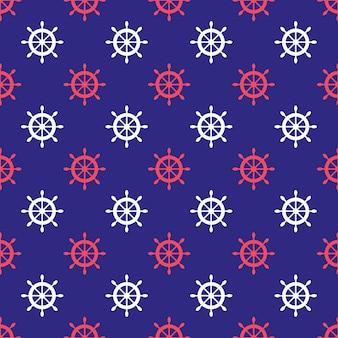 船の車輪とのシームレスな航海パターン。壁紙、ベビーシャワーの招待状、誕生日カード、スクラップブッキング、ファブリックプリントなどのデザイン要素。