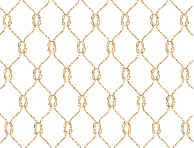 Seamless nautical rope pattern. endless navy illustration with beige fishing net ornament and marine knots on white backdrop