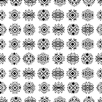 Бесшовные навахо племенных черно-белый узор этнических векторных орнаментов