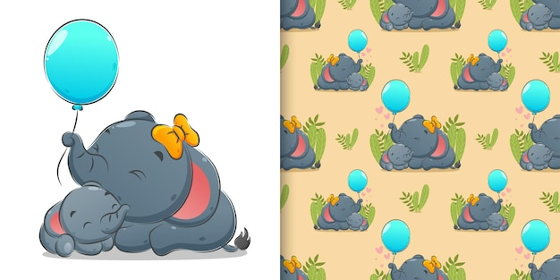The seamless of the new born elephant sleeping with her mother and holds the balloons of illustration