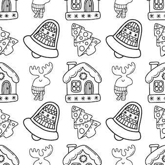 Seamless new year doodle pattern with house bell and deer