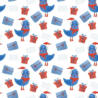 Seamless new year pattern with gifts and birds