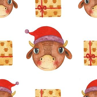 今年の雄牛のシンボルとシームレスな新年のパターン