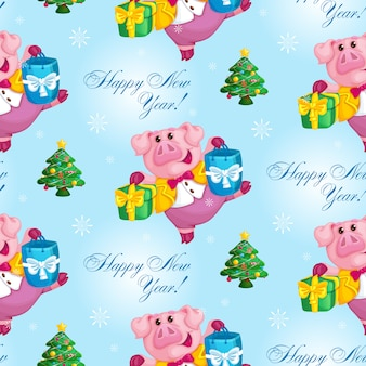 Seamless new year pattern