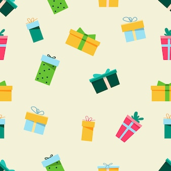 Seamless new year's pattern in doodle style. design for gift wrapping, postcards and more. colorful gift boxes.