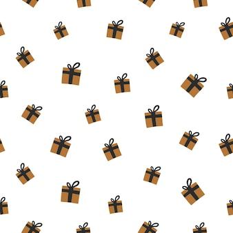 원활한 새 해의 패턴입니다. 중립 배경에 크리스마스 선물입니다. 벡터 일러스트 레이 션