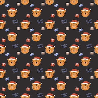 Бесшовный новогодний образец в стиле каракули. дизайн для подарочной упаковки, открыток и др. голова тигра в новогодней красной шапке, подарочные коробки.