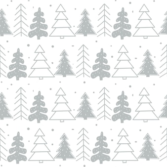 森の中の定型化されたクリスマスツリーとシームレスな新年のテンプレート