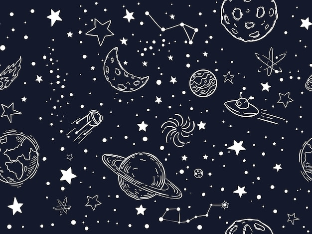 Seamless night sky stars pattern