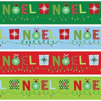 Бесшовные ноэль с украшением красного и зеленого цвета, векторные иллюстрации