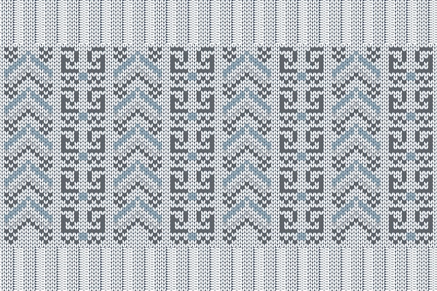 Seamless nordic knitting pattern in blue, grey colors.