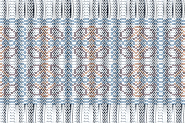 Seamless nordic knitting pattern in blue, orange, brown, grey colors.