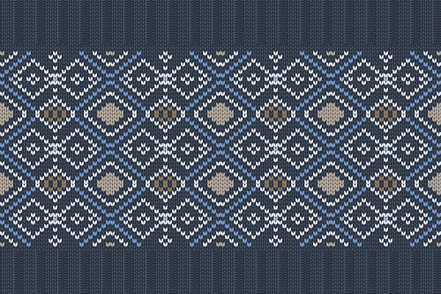 Seamless nordic knitting pattern in blue, white, brown colors with snowflakes.