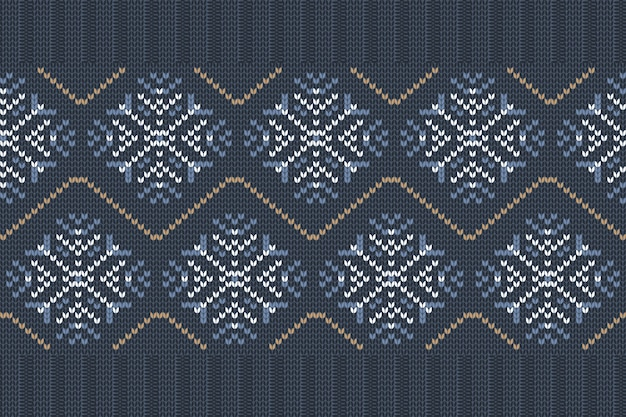 Seamless nordic knitting pattern in blue, white colors with snowflakes.