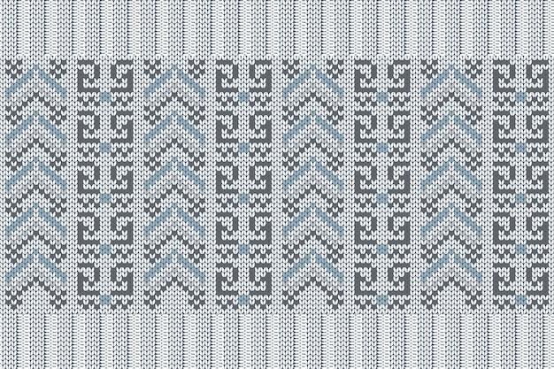 青、灰色のシームレスな北欧の編み物パターン。