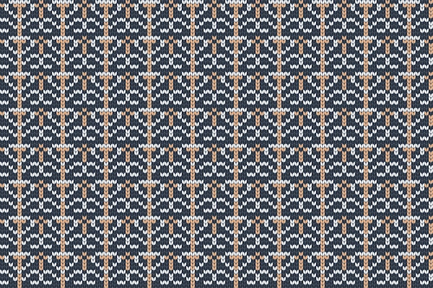 青、オレンジ、灰色のシームレスな北欧の編み物パターン。