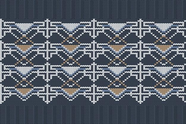 青のシームレスな北欧の編み物パターン