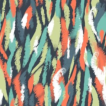 シームレスな北欧パターン。ブラシストロークと民族の抽象的な背景。混oticとしたマルチカラーの汚れと汚れ。テクスチャ、壁紙、テキスタイル、包装紙、カード、印刷の無限のベクターデザイン。