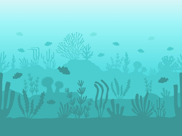 원활한 바다 바닥입니다. 바다 식물, 물고기, 해초가 있는 수중 산호초 실루엣. 해저 생활 벡터 패턴이 있는 평평한 바다. 모래와 깊은 물 자연 풍경