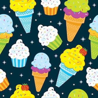 カップケーキとアイスクリームのシームレス