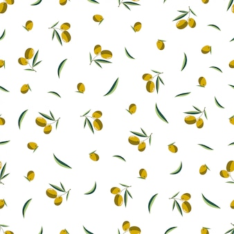 Seamless olive branch pattern on a white background