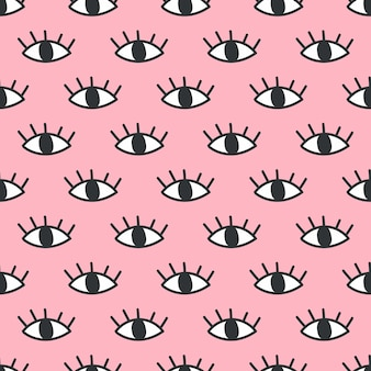 Seamless open eye pattern on pink background.