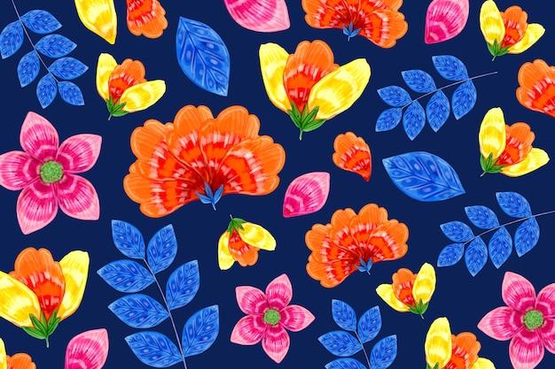 シームレスなオレンジとブルーの花柄