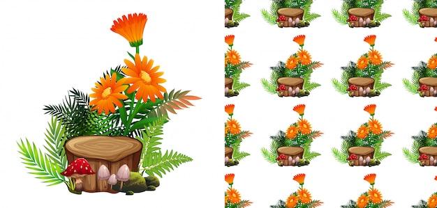 Seamless  orange gerbera flowers and mushrooms