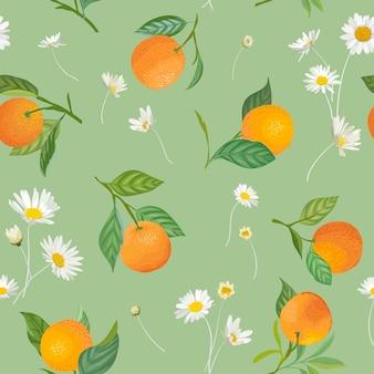 Оранжевый фон с тропическими фруктами, листьями, цветами ромашки. ручной обращается векторные иллюстрации в стиле акварели для летней обложки, тропических обоев, цитрусовых старинных текстур