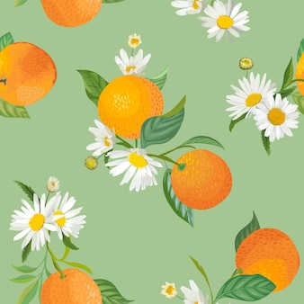 Seamless orange pattern with tropic fruits, leaves, daisy flowers background. hand drawn vector illustration in watercolor style for summer cover, tropical wallpaper, citrus vintage texture