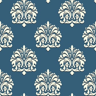 Seamless oriental pattern on blue background vector backdrop