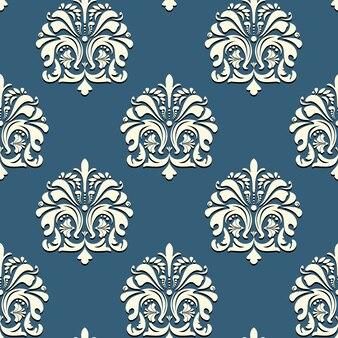 青い背景ベクトルの背景にシームレスなオリエンタルパターン