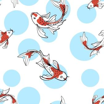 日本の鯉鯉とのシームレスなオリエンタルパターン。幸運のシンボル。アジアの背景、イラスト。ナチュラル生地のプリントデザイン。