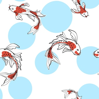 Seamless oriental pattern with japanese carps koi. a symbol of good luck. asian background, illustration. natural fabric print design.