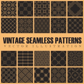 Seamless ornament vintage background set
