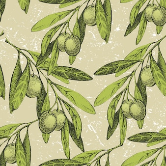 Seamless ornament with hand drawn olive branches