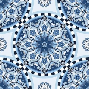 Бесшовный декоративный фон. этническая круглая декоративная мандала синего цвета. модный узор.