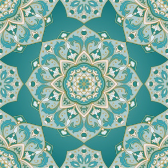 シームレスな装飾的な背景。様式化されたターコイズモザイク。オリエンタルブルーのパターン。